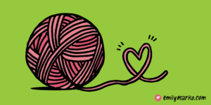 Ball of yarn with heart